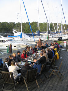 Kick off with dinner on the jetty